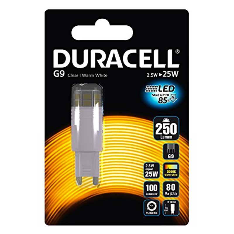 Lampadina duracell led bispina w2 5 attacco g9 3000k luce for Lampadine g9 led
